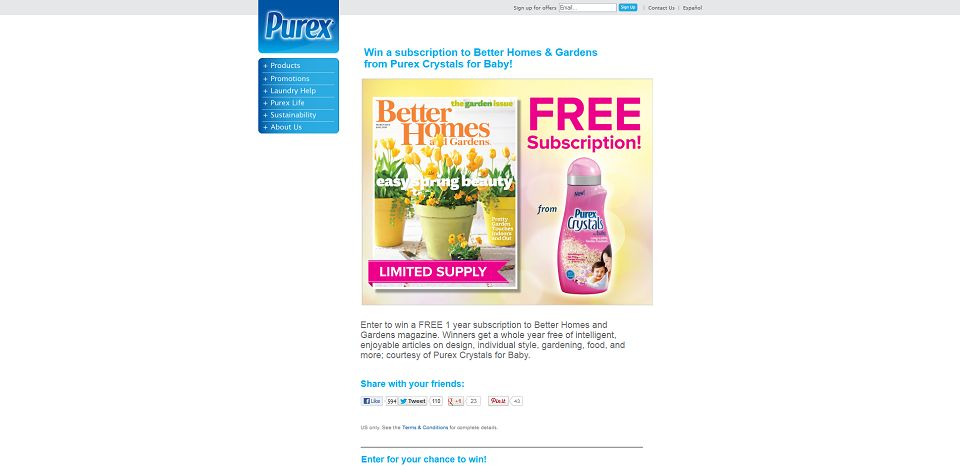 Purex Better Homes Gardens Sweepstakes