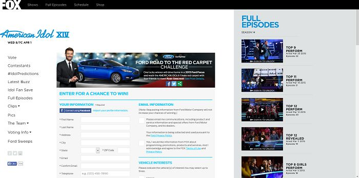 americanidol.com/ford - Ford Road to the Red Carpet Challenge