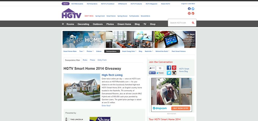 #5453-HGTV Smart Home 2014 Giveaway _ H