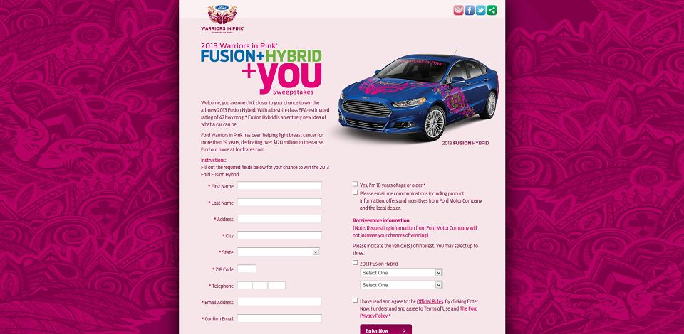 #889-Warriors In Pink Fusion+Hybrid+You I Register Today For Your Chance To Win I Fordcares_com-fordvehicle