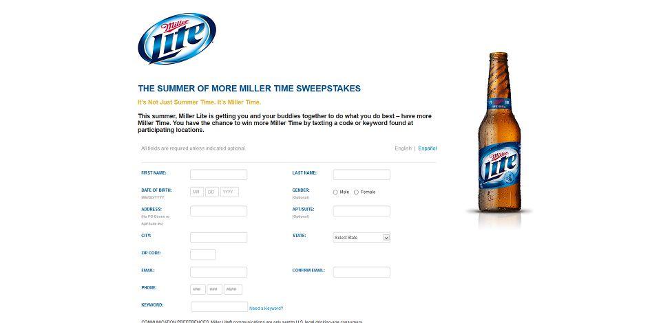 #1274-Miller Lite Summer 2013 Sweepstakes _ Registration-promo_millerlite_com_summertimeismillertime
