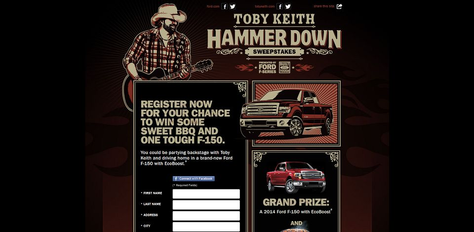 #1710-Enter-to-Win a 2014 Ford F-150 Truck I Toby Keith Ha