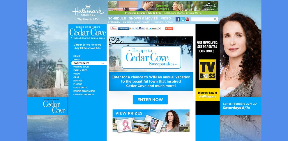 #2125-Debbie Macomber's Cedar Cove - Escape to Cedar Cove Sweepstakes I Hallmark Channel-www_hallmarkchannel_com_cedarcove_sweepstakes