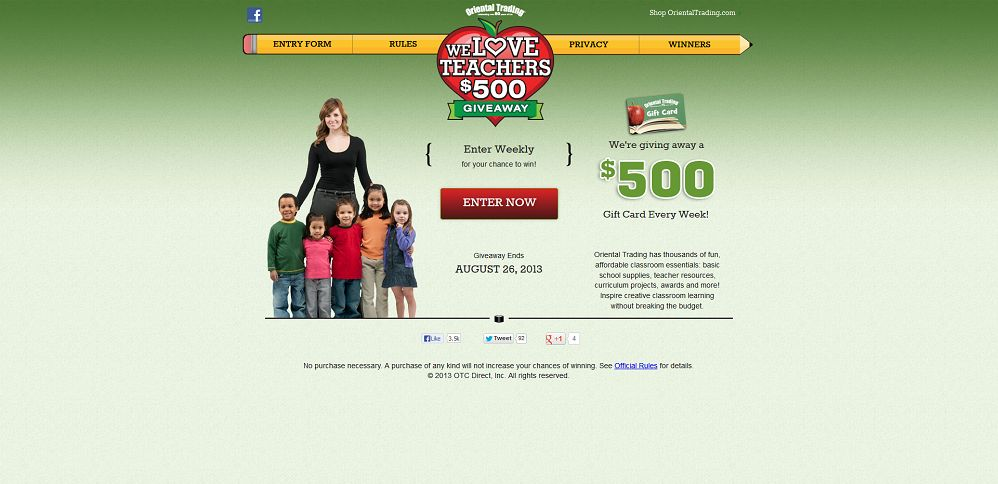 #2152-We Love Teachers $500 Giveaway I From OrientalTrading_com-www_weloveteachersgiveaway_com