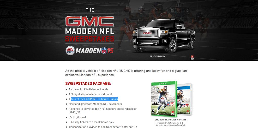 Gmc Madden Nfl Sweepstakes Gmc Is Offering One Lucky Fan