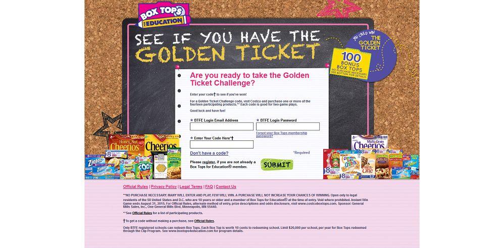costcoboxtops.com - Costco & Box Tops Golden Ticket Challenge