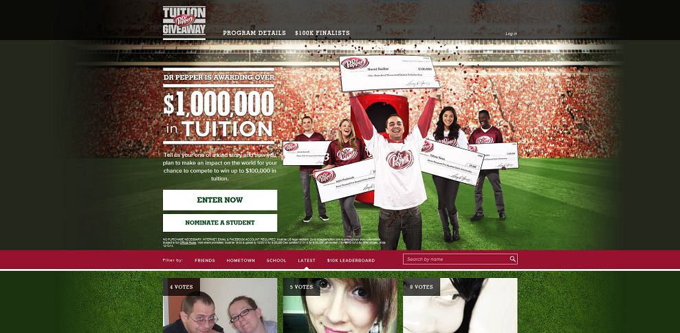 Dr. pepper tuition giveaway promotion