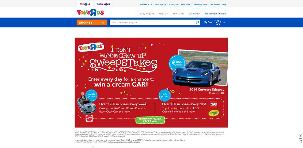 2948-2013 Holiday Sweepstakes, Win a 2014 Corvette Stingray - Toys_R