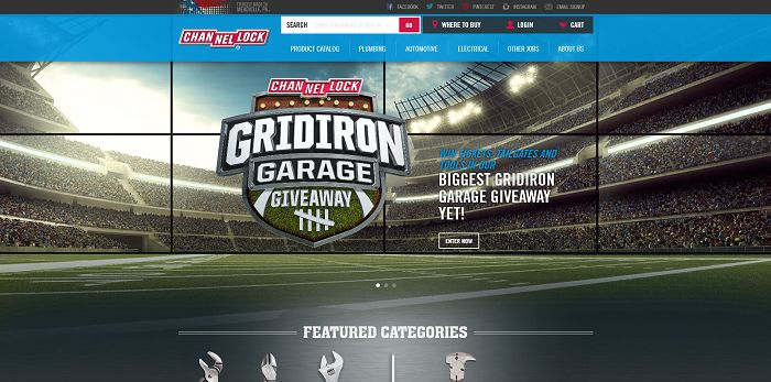 ChannellockSweepstakes.com - Gridiron Garage Giveaway 2015