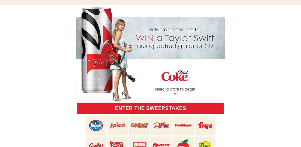 #2983-Diet Coke Taylor Swift Sweepstakes-kroger_softcoin_com_programs_kroger_cokets