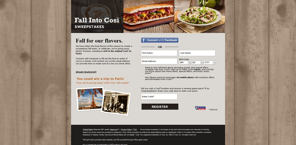 #3116-Fall Into Così Sweepstakes-www_fallintocosi_com