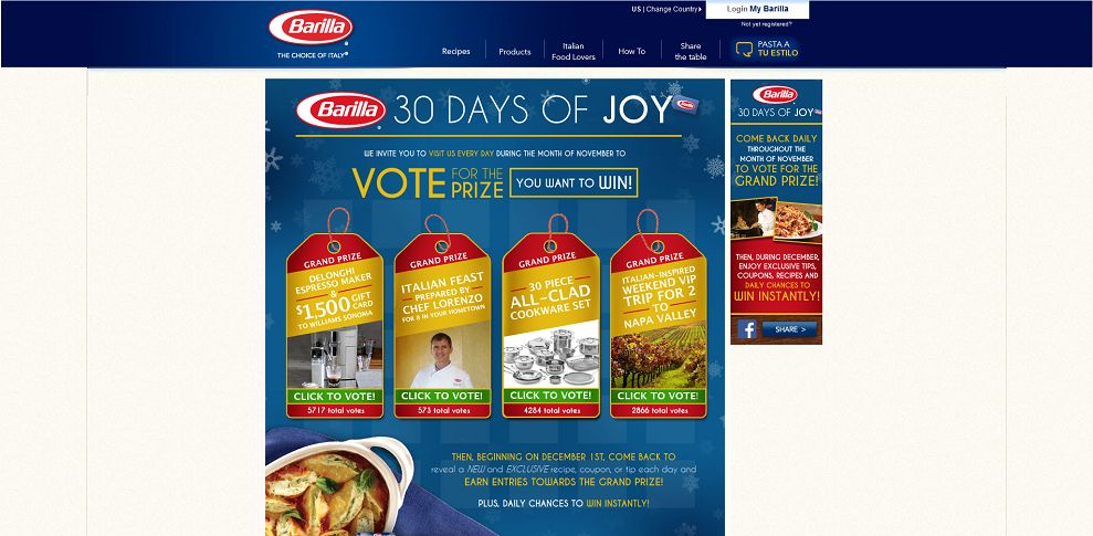 #3439-Barilla 30 Days of Joy Sweepstakes-www_barilla_com_30DaysOfJoy