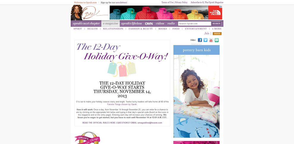 #3441-O's 12-Day Holiday Give-O-Way Sweepstakes - Oprah_com-www_oprah_com_packages_12day-holiday-giveoway-sweepstakes_html