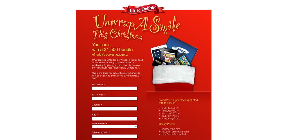 Little debbie unwrap a smile this christmas sweepstakes and contests