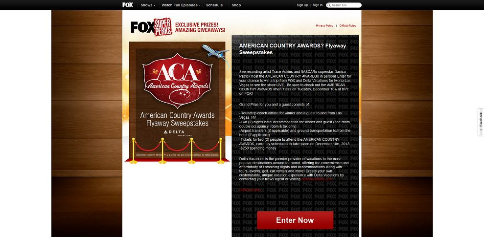 #3478-FOX Broadcasting Company - AMERICAN COUNTRY AWARDS Flyaway Sweepstakes-www_fox_com_superperks_acas