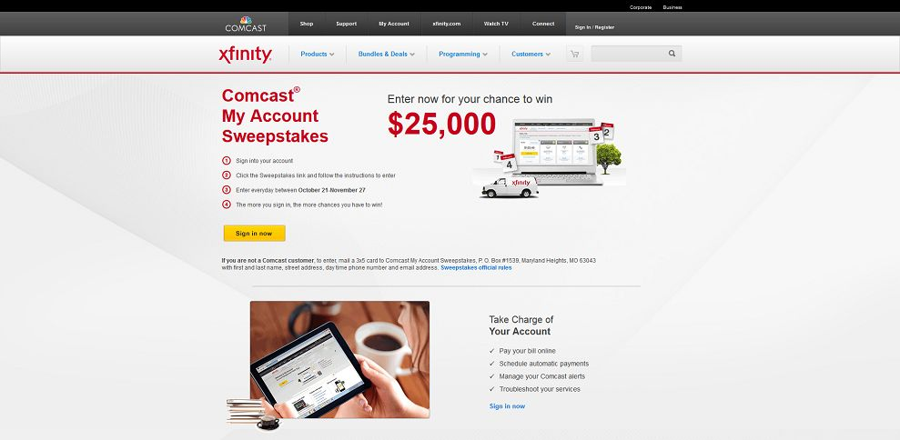 #3481-Comcast® My Account Sweepstakes - Sign in for a Chance to WIN $25K-www_comcast_