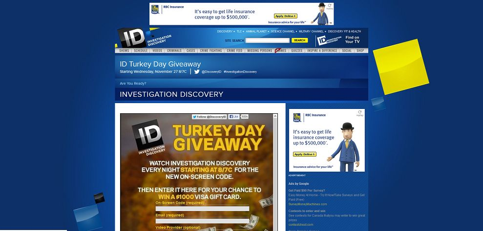 investigation discovery/giveaways
