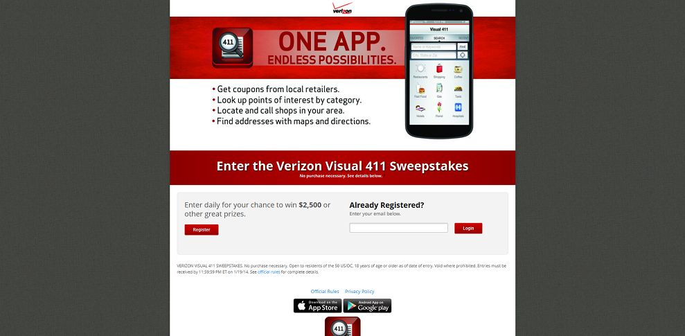 #3944-Verizon Visual 411 Sweepstakes-www_vz411_com_register