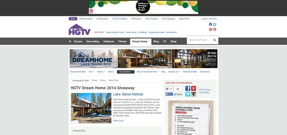 Home and garden sweepstakes dream home entry for autos weblog Home garden television