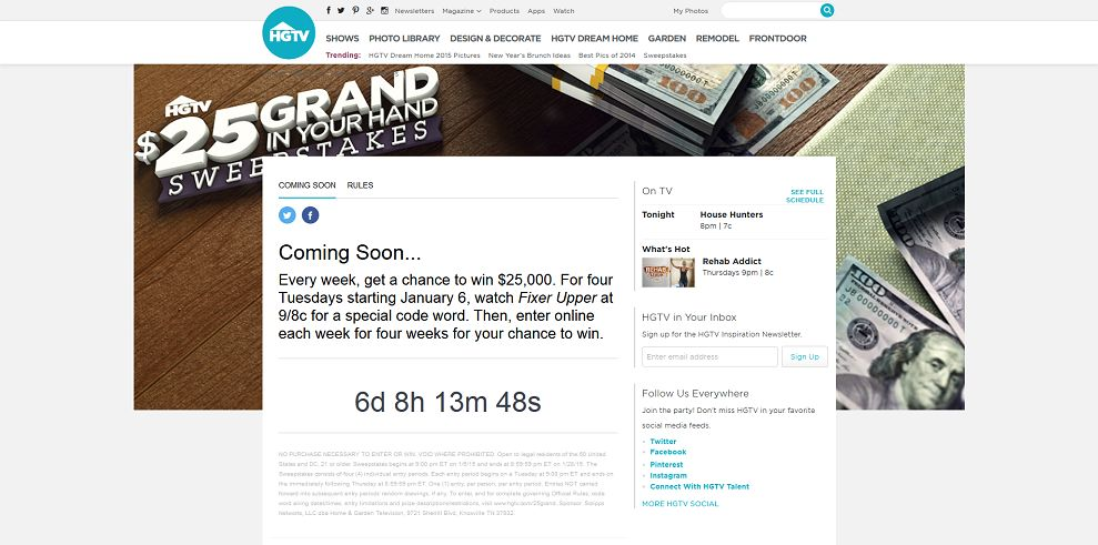 Hgtv grand in your hand sweepstakes
