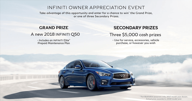 INFINITI Owner Appreciation Event Sweepstakes 2017 (InfinitiUSA.com/OwnerEvent)