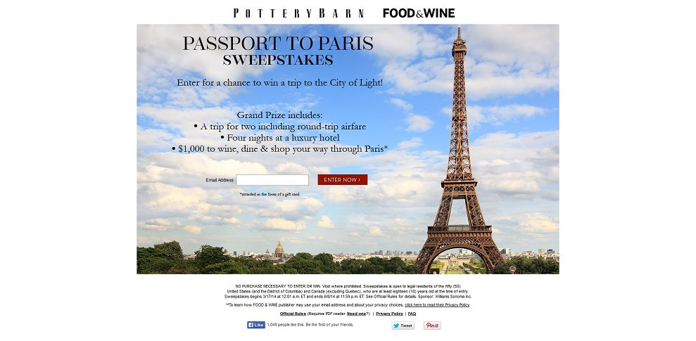 #5141-Pottery Barn Passport to Paris Sweepstakes-potterybarn_promo_eprize_com_getaway