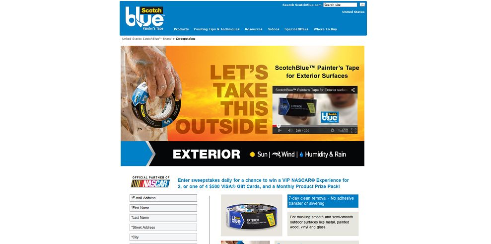 Scotchblue Painter S Tape For Exterior Surfaces Sweepstakes