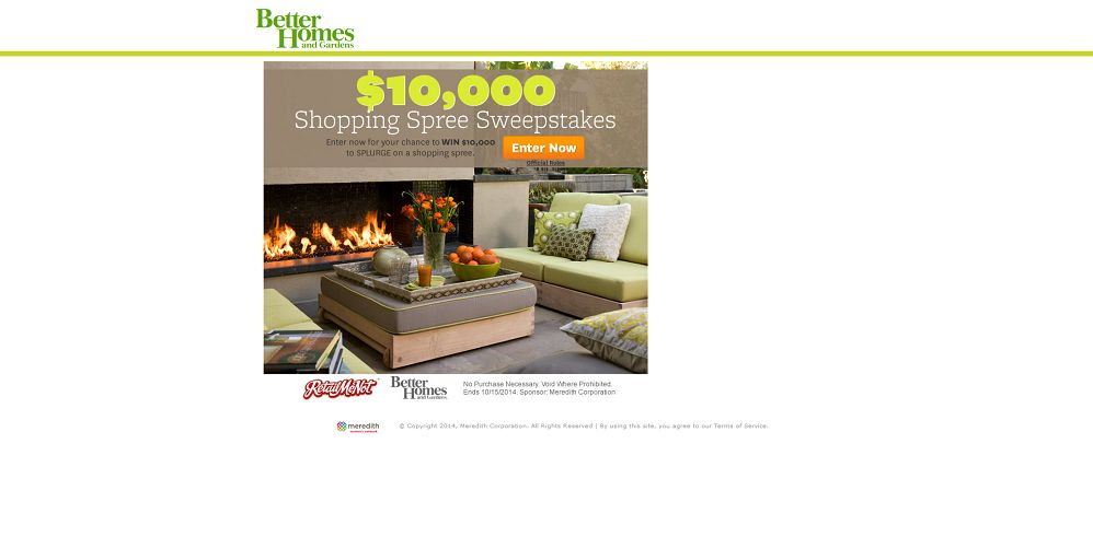 better homes and gardens $10,000 shopping spree sweepstakes