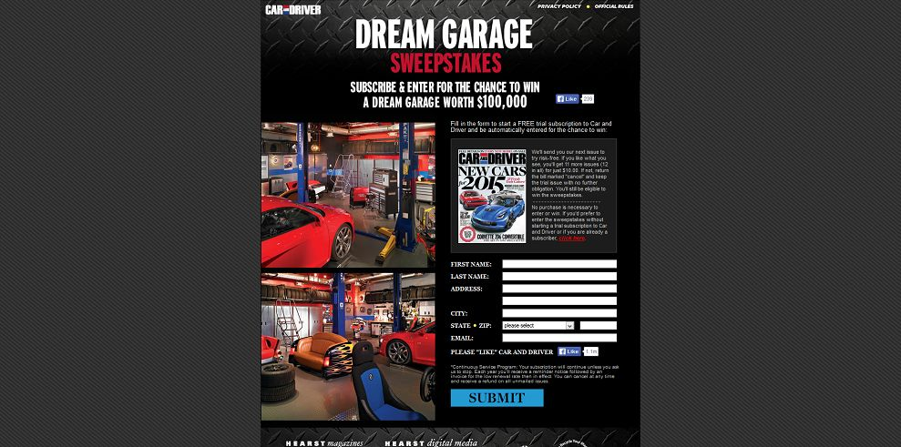 Win $100 000 car and driver dream garage sweepstakes