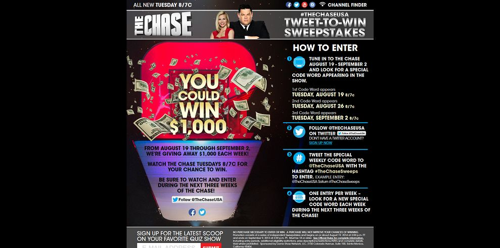 TheChaseUSA Tweet To Win Sweepstakes At Gsntv Com TheChase They Are
