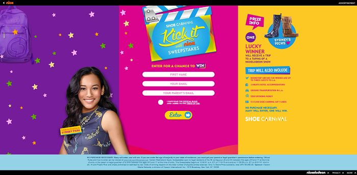 Nickelodeon's Back to School with Shoe Carnival Sweepstakes at Nick.com/ShoeCarnival