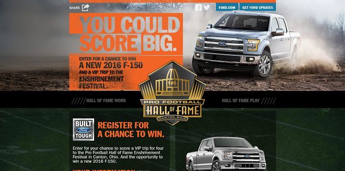 FordHallOfFame.com - Built Ford Tough Pro Football Hall of Fame Sweepstakes
