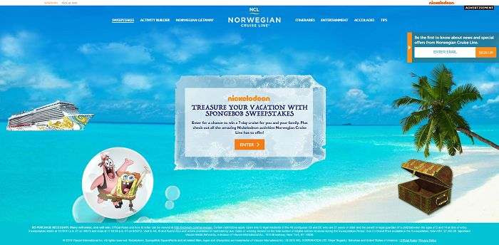Norwegian Cruise Line Treasure Your Vacation With SpongeBob Sweepstakes