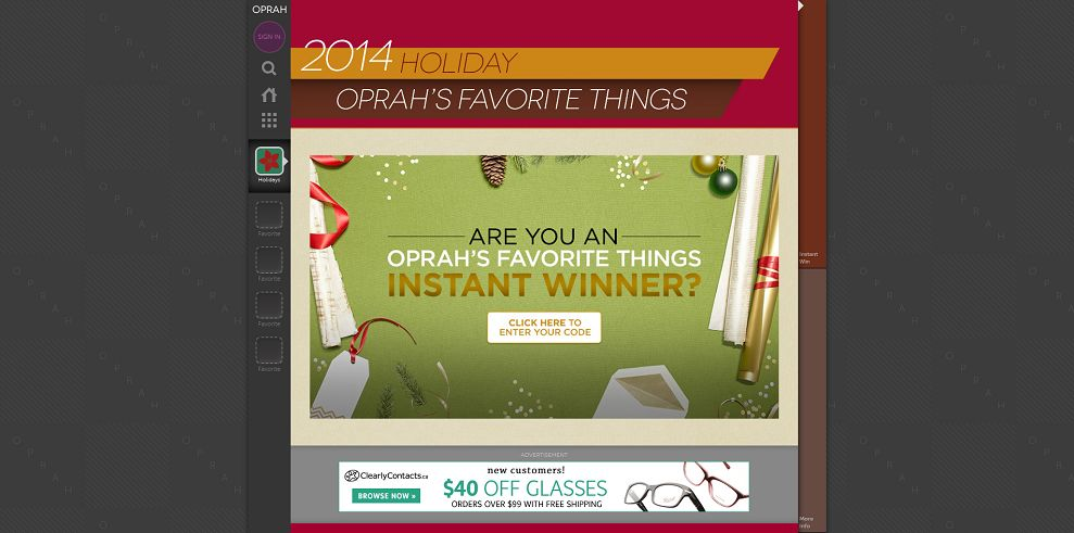 enter oprahs favorite things sweepstakes