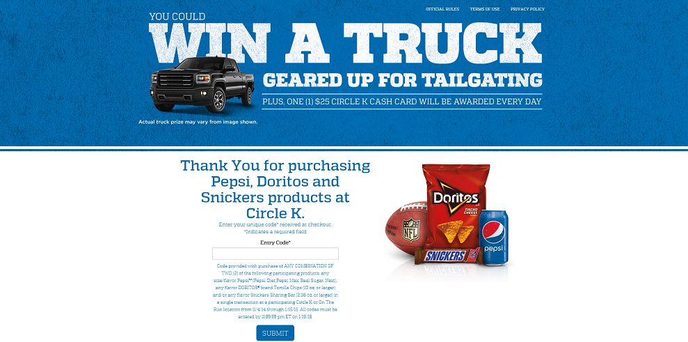 Circle K NFL Tailgate Sweepstakes (FreeNewTruck.com)