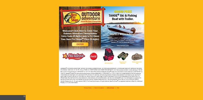 HardeesBPS.com - Hardee's 2015 Outdoor Adventure Instant Win Game And Sweepstakes