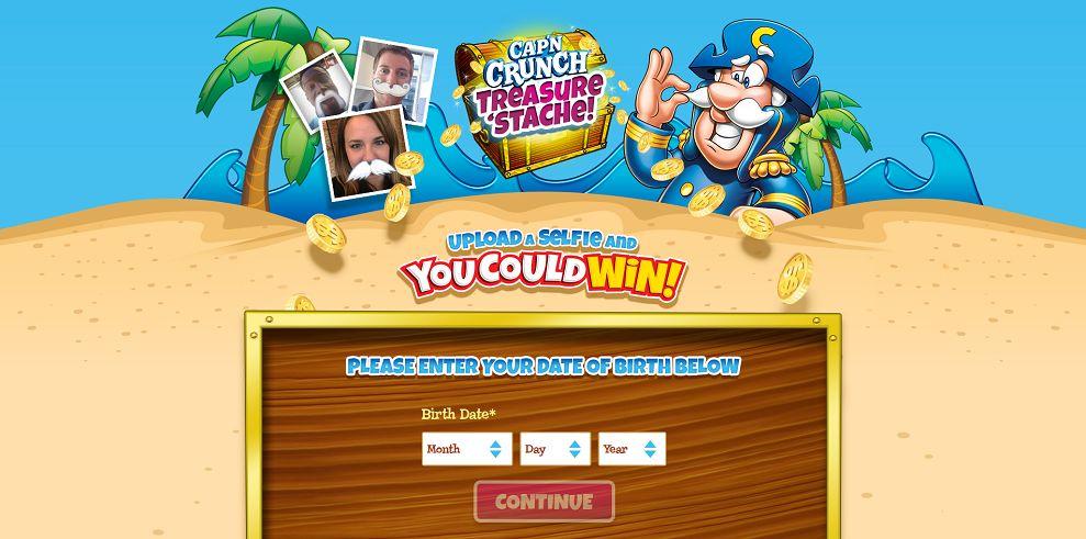 Cap'n Crunch Treasure 'Stache Sweepstakes (capnstache.com)
