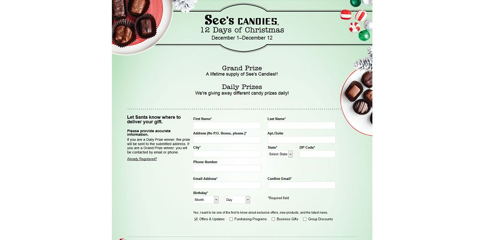 See's Candies 12 Days of Christmas Sweepstakes (sees12days.com)