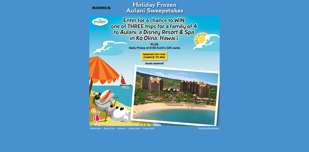 Holiday Frozen Aulani Sweepstakes (frozenaulanisweeps.com)