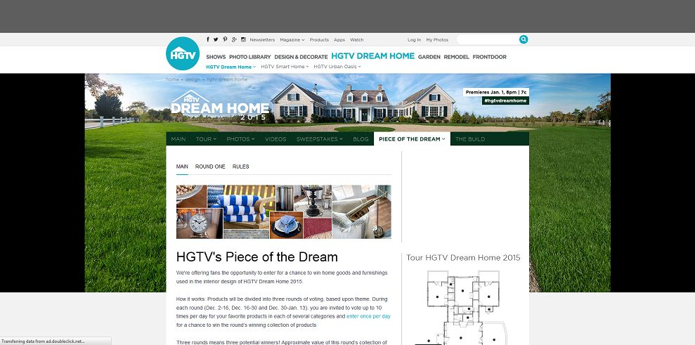 HGTV Dream Home Sweepstakes Entry 2015