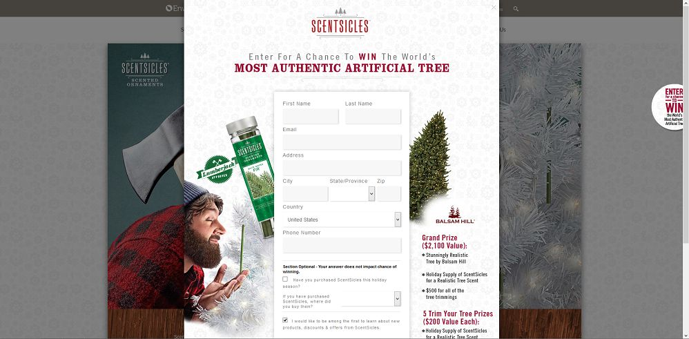 ScentSicles The World's Most Authentic Artificial Tree Sweepstakes