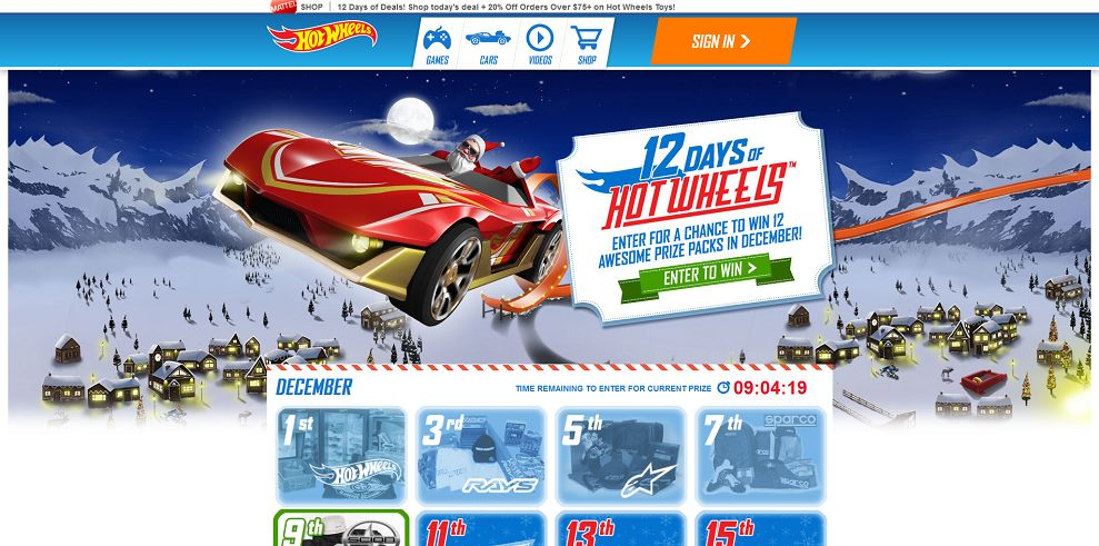 12 Days of Hot Wheels Sweepstakes (12DaysofHotWheels.com)