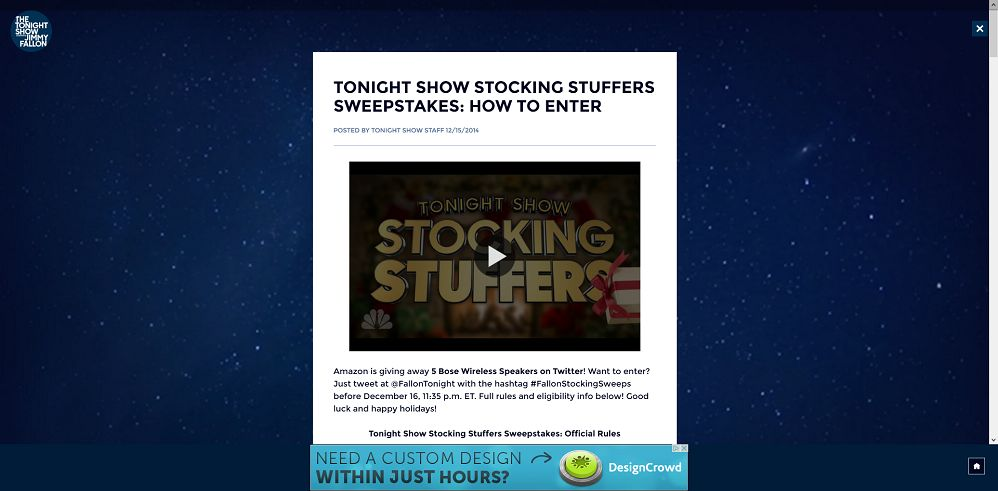 Tonight Show Stocking Stuffers Sweepstakes (tonightshow.com/stockingstuffers)