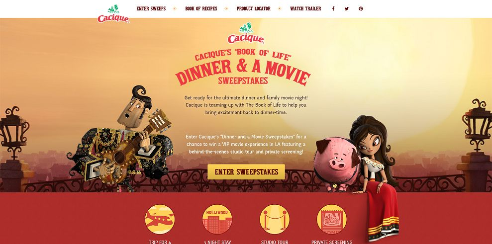 Cacique's Book Of Life Dinner And A Movie Sweepstakes