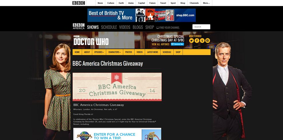 BBC Americas Christmas Giveaway : Win a family trip to Universal ...