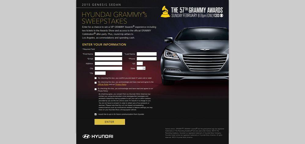 Hyundai GRAMMY's Sweepstakes