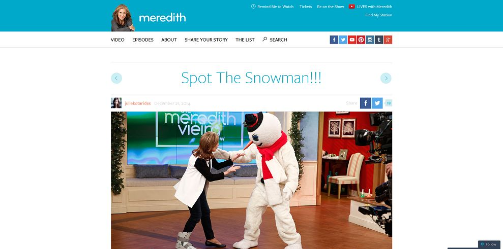 The Meredith Vieira Show Spot the Snowman Sweepstakes