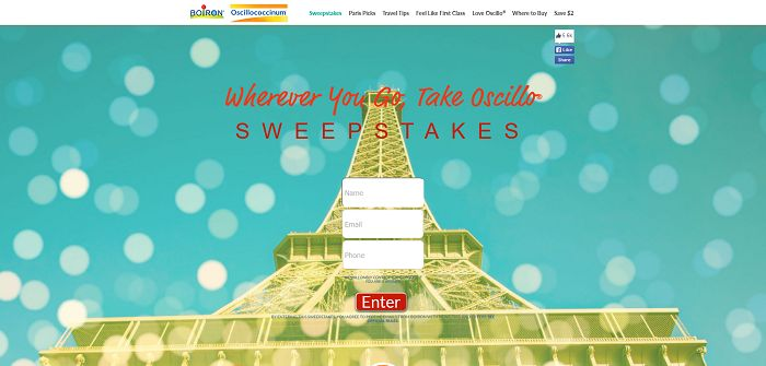 Boiron Wherever You Go, Take Oscillo Sweepstakes