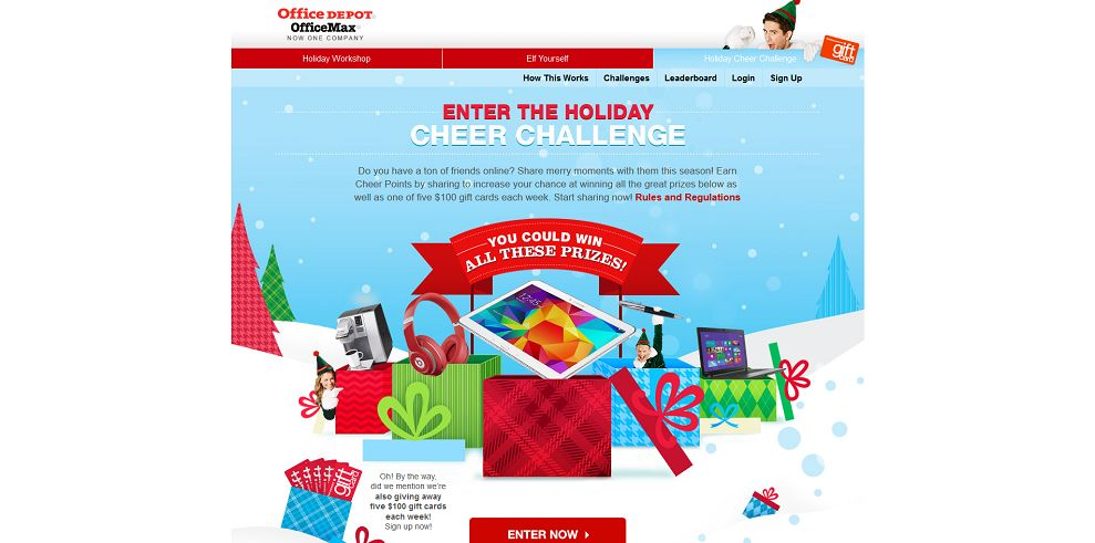 Office Depot Holiday Cheer Challenge Sweepstakes (HolidayCheerChallenge.com)