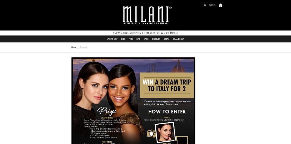 Milani Cosmetics Win a Dream Trip to Italy Contest